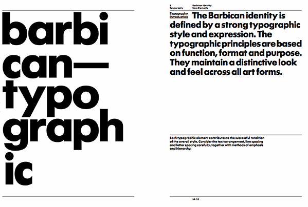 Typography guidelines in the style guide of Barbican art and learning centre